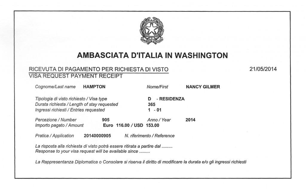 visa receipt