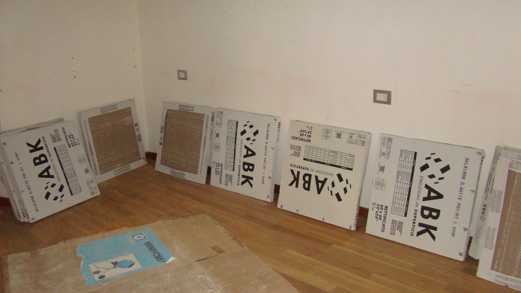floor tiles in their boxes